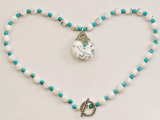 """White Marble & Magnesite Turquoise Beads Bib Necklace Pendant Silver Toggle 18"""""""
