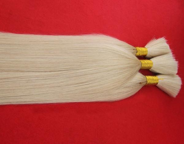 top popular Fashionable Grade Platinum Blonde Color 100% Brazilian Human Hair Bulk For Braiding 100g Braiding Hair Bulk Straight Braiding Hair Extensio 2019