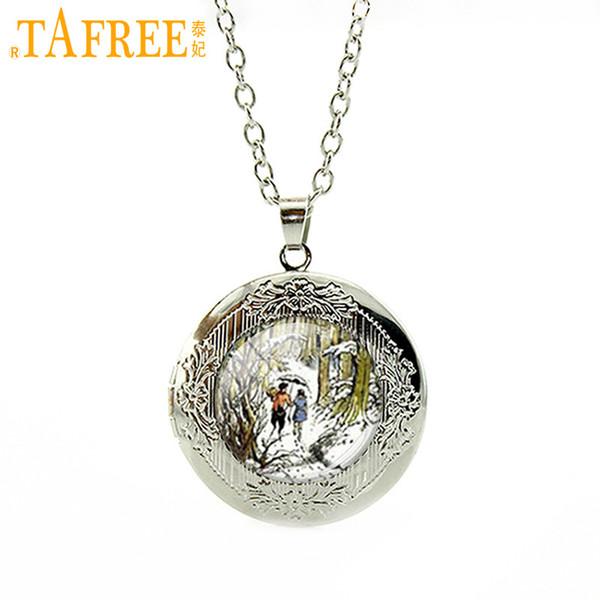 TAFREE man women locket pendant necklace Glass gem famous painting works picture pendant vintage jewelry WNK119