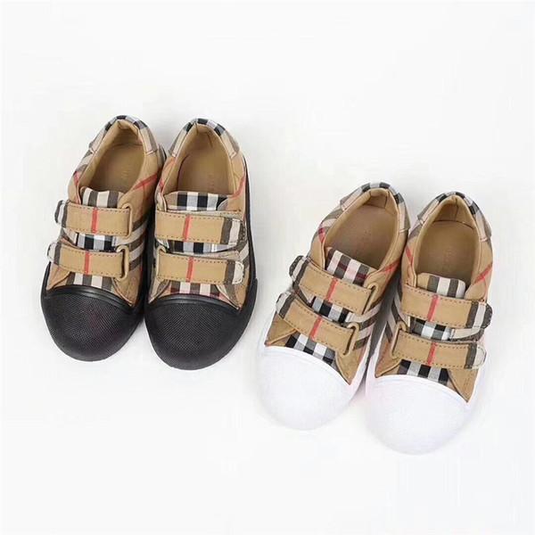 Yüksek kaliteli Çocuklar Ayakkabı Tuval Ekose Sneakers Erkek Kız Sneakers üzerinde Kayma Antik Sarı Ayakkabı Çocuklar Düğün Ayakkabısı Çocuk Hediye Fikirleri