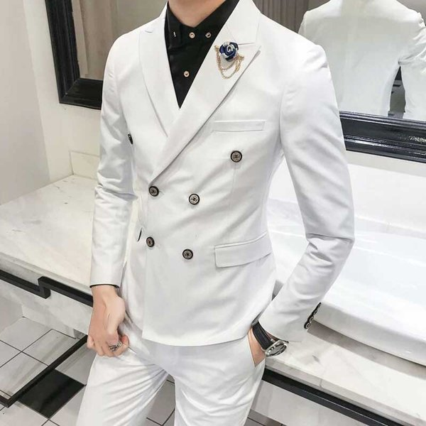 Italy Style Mens Wedding Suits Pants Double Breasted White Groom Tuxedo Groomsmen Outfit Best Man Blazer Two-Piece Slim Fit Terno Masculino
