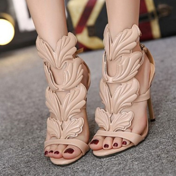 Design Wings Women Sandals Silver Nude Black Gold Leaf Strappy High Heels Gladiator Sandals Women Pumps Shoes Ankle Strap Dress Shoes