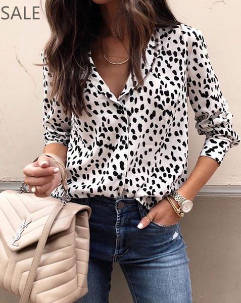 2b39fd83a72a Compre Blusa Para Mujer Manga Larga Leopardo Impreso Moda Tejido De  Poliéster Cuello En V Sexy Estilo Caliente Botones Camisas Para Damas A  $17.82 Del ...