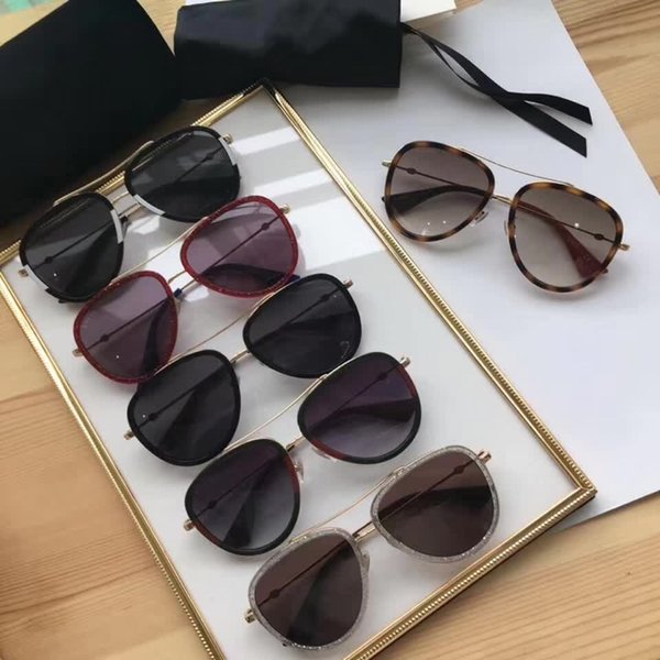0062 Men and Women Brand Sunglasses Fashion Oval Sun glasses UV Protection Lens Coating Mirror Lens Frameless Color Plated Frame With Case
