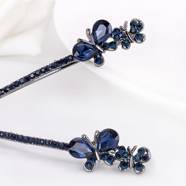 Women Beauty Crystal Rhinestone Blue Butterfly Vintage Hair Barrette Clips Hairpin Girl Friend Wife Gift Clip Clamp Accessories