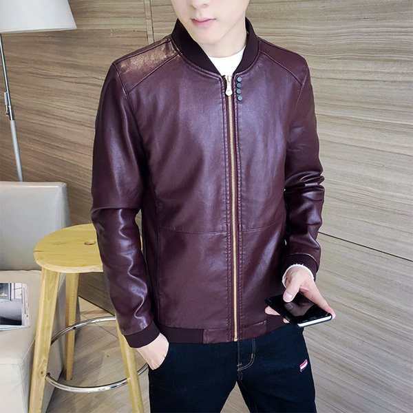 new style trend casual slim fit winter models youth popularity thick collarless korean-style tight type men pu leather jacket