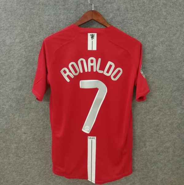 ^_^ Classic 2007 2008 MU FINAL MOSCOW retro soccer jersey Utd football jerseys top quality soccer clothing custom name number Ronaldo 7 ucl