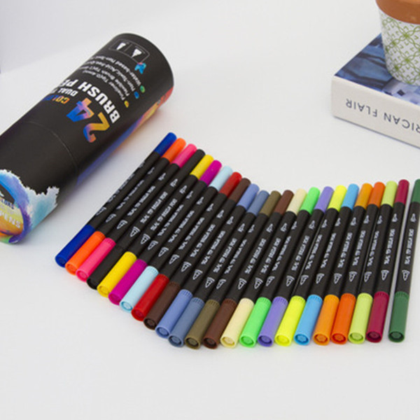 best selling Premium 24 Colors Dual Tip Art Marker Pen Water Based Fine Tip With Soft Brush Tip Markers For Sketch Drawing Painting Tools