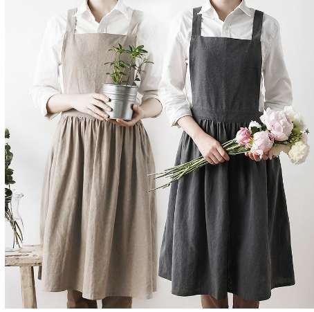 Fashion Washed Cotton Aprons Unisex Simple Kitchen Cooking Apron Coffee House Flower Shop Sleeveless Antifouling Work Pinafore