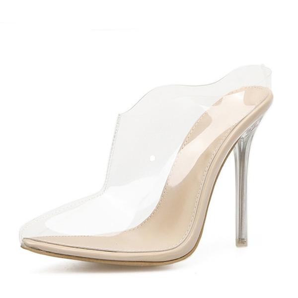 Gladiator Frauen Sommer Pumps Sandalen High Heels Klar PVC Transparente Pumps Stiletto Sexy Hausschuhe Größe 35-42
