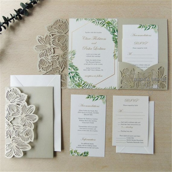 Laser Cut Pocket Wedding Invitation Kit Champagne Gold Vintage Floral Greenery Lasercut Suite Many Colors Available Turquoise