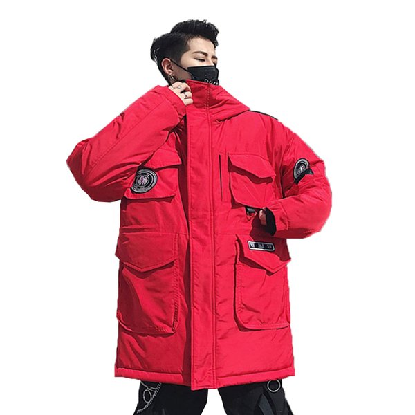 Fashion Man Jacket Winter Warm Streetwear Puffer Cotton Padded Coat Hooded Harajuku White Red Parka Hombre Loose Outerwear Male