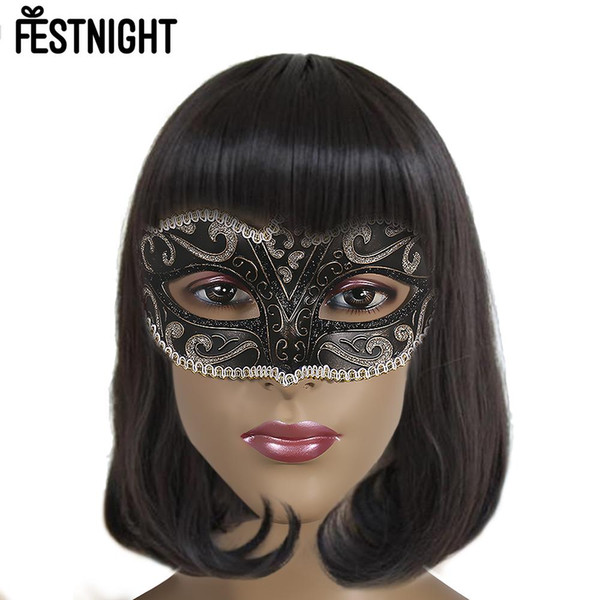 FESTNIGHT 5 pcs Máscara de Halloween Branco Luxo Sexy Plástico Meia Máscara Halloween Masquerade Bola com Glitter Decoração de Renda