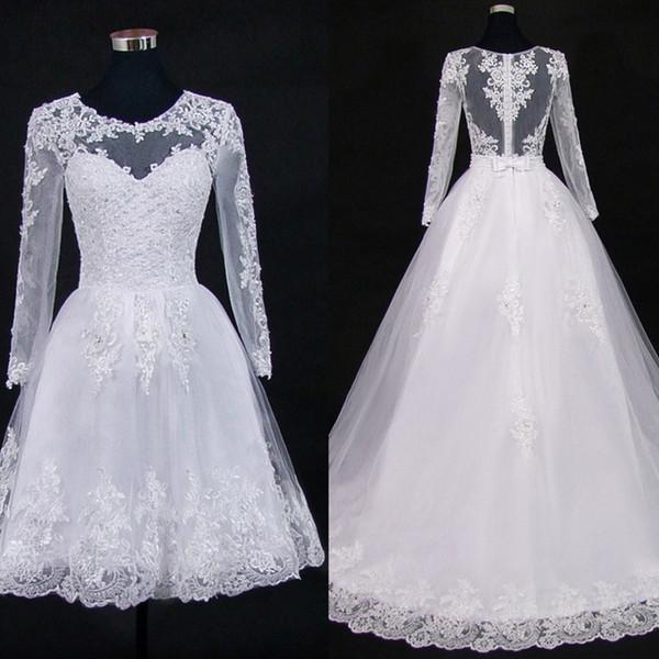 Qq Lover 2019 Apliques de encaje de tren desmontable Perlas 2 en 1 Vestidos de novia Vestidos de novia 2 En 1 Vestido De Noiva Illusion Y19072901