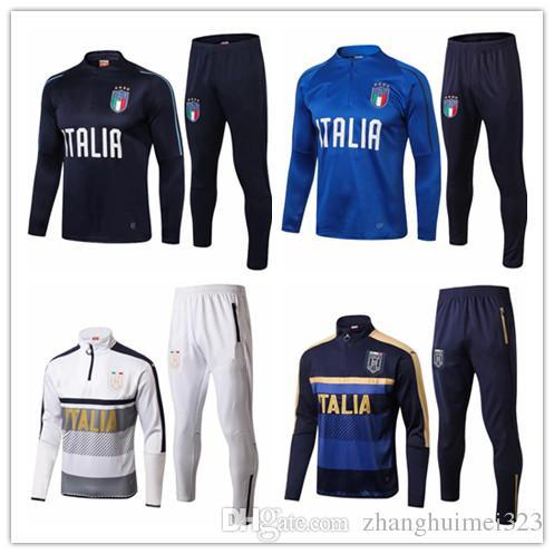 2018 19 Survetement football Italy tracksuit italia training suit kits Soccer2018 19 italian training shinny tight pants sweater shirt