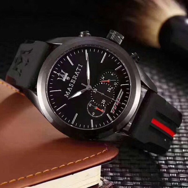 Fashion Mens Sport Wrist Watch Top Brand maserati Rubber Strap Quartz Movement Gift Time Clock Wacth Relojes Hombre Horloge Orologio Uomo