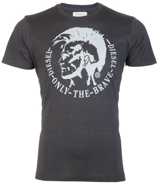 DIESEL Men T-Shirt ACHEL Mohawk Logo CHARCOAL GREY Casual Designer $58 Jeans NWT Men Women Unisex Fashion tshirt Free Shipping black