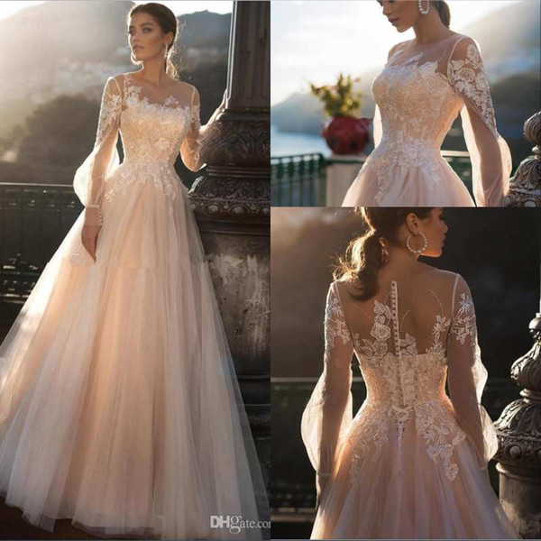 Champagne Lace Bohemia A Line Wedding Dresses 2020 Sheer Long Sleeves Tulle Lace Applique Sweep Train Wedding Bridal Gowns robes de mariée