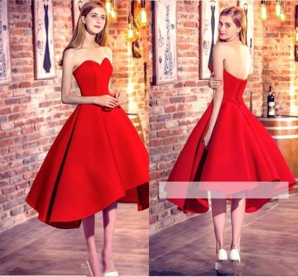 Red High Low Homecoming Dresses 2019 Sweetheart Satin A Line Short Prom Dresses Corset Back Formal Party Wear Cheap Cocktail Dresses BC1446