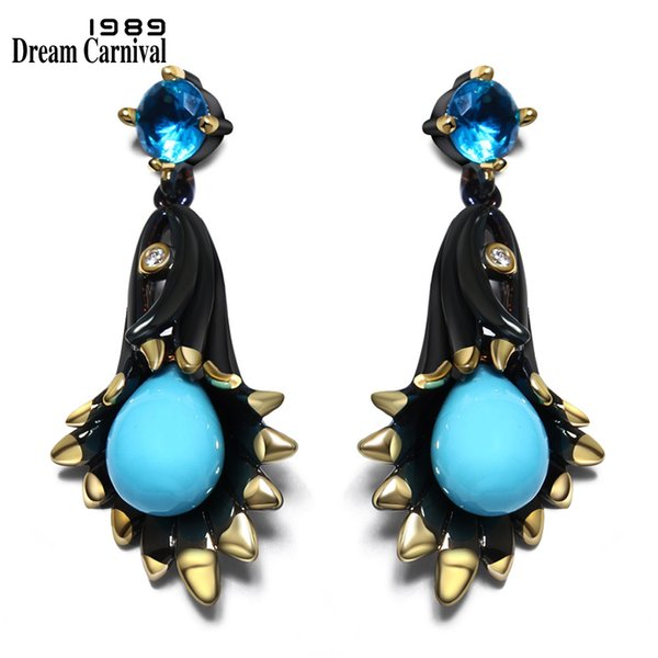 Dreamcarnival1989 Chandelier Bell Flower Dangle Earrings For Women Black Gold-color Spots Blue Tone Stoning Pendientes Ze52799 J190702