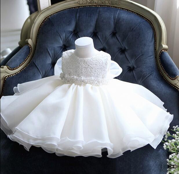 Glizt Baby Girl Dress White Chiffon Ball Gown Bead Bow Belt Baptism Dress For Girl Infant 1 Year Birthday Christening Gowns Y19061101