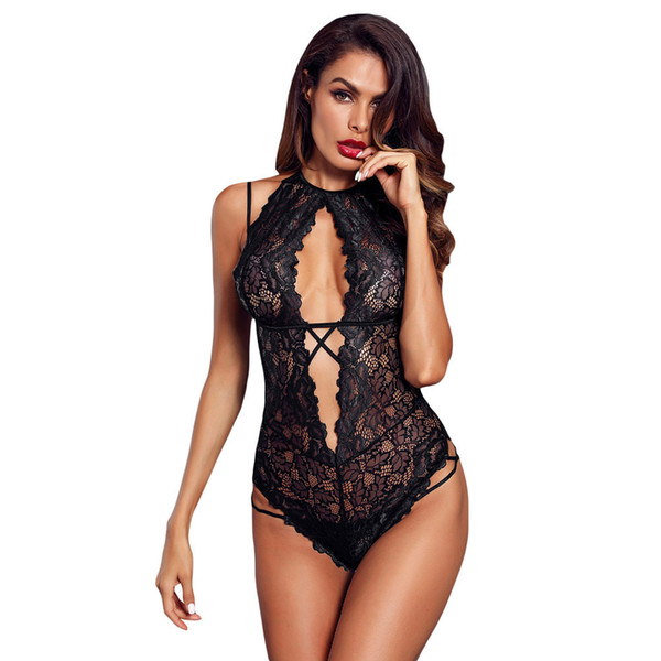 Time Taste Underwear New Pattern T-shirts Camisole Sleeveless Lace Crotch Opening Home Furnishing Conjoined Pajamas Female 32270 A19