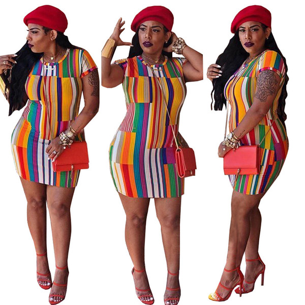 Multi Striped Print Mini Dresses Women Casual Short Sleeve Round Collar Pullover Above Knee Holiday Street Pencil Dresses