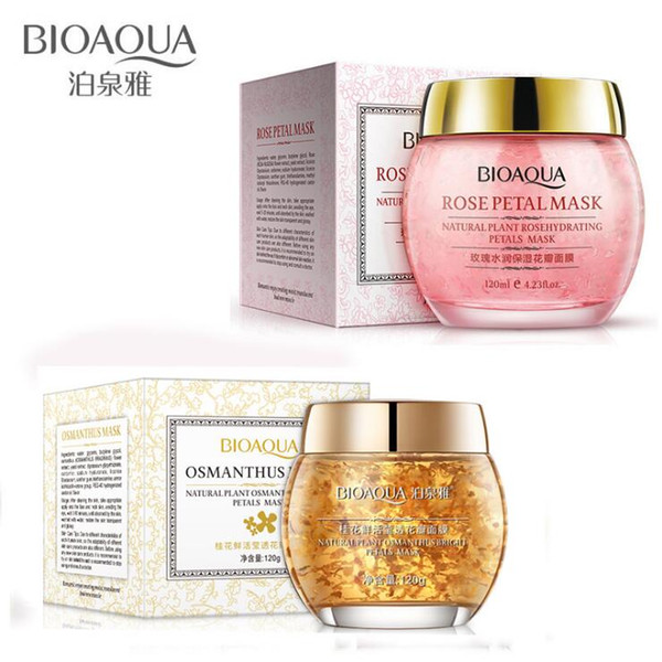 Bioaqua flower ma k o manthu ro e flower petal deep clean ing moi turizing oil control facial kin care leeping ma k 120ml