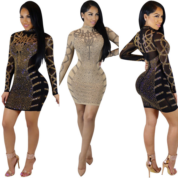 Tasarımcı Kadın Giyim 2019 Yeni Uzun Kollu Midi Bodycon Elbiseler Kadınlar Sheer Rhinestone Parti Kulübü Elbise Ince Sıska Kokteyl Balo Elbise