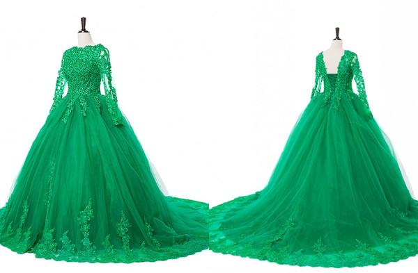 Emerald Green maniche lunghe a buon mercato Quinceanera abiti di pizzo applique Paillettes Perline sfera di Tulle partito Sweet 16 Dress