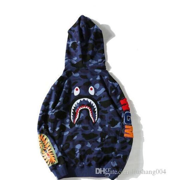 3new Hoodies Tide brand aape supp cham hombres / mujeres cabeza de tiburón miedo bordados hombres más suéter de cachemira hombres y mujeres amantes chaqueta con capucha
