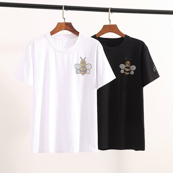 Men's t-shirt Before and after bee sequins Arm letter sequins 2019 new shiny cool light breathable imported fabric