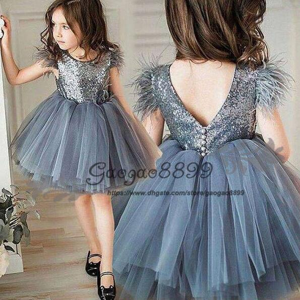 2019 Spring Flower Girl Dresses Vintage sequined feather tutu skirts Baby Girl Birthday Party Communion Dresses Children Girl Party Dresses