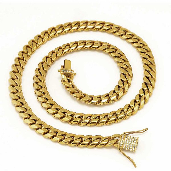 Stainless Steel 24K Solid Gold Electroplate Casting Clasp & Diamond CUBAN LINK Necklace & Bracelet For Men Curb Chains Jewelry KKA3374