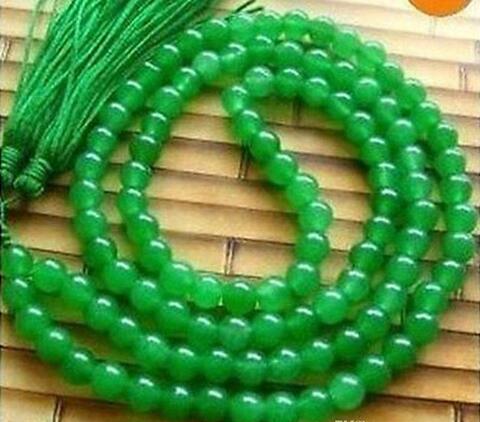 Тибет буддийский 108 зеленый нефрит бусины молитва мала ожерелье 8 мм бусины Бесплатная доставка