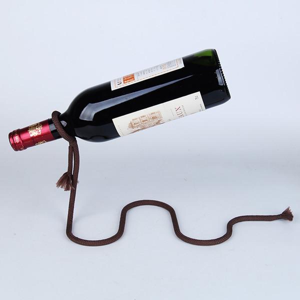 Creative wine rack decoration home ribbon wine stand wrought iron decoration bottle bracket magic rope suspension wine shelf A03