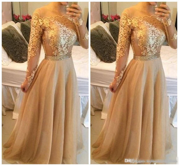 2019 Lace Off Shoulder Prom Dresses Long Custom Vestidos A-Line Appliques Illusion Long Sleeves Sash Floor Length Tulle Evening Party Dress