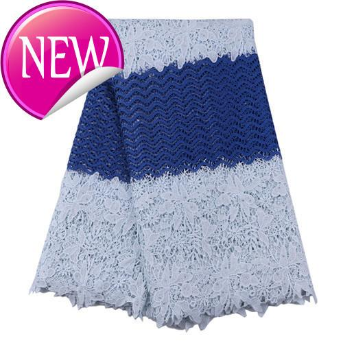 H09 White And Bluelow Price Wholesale African Lace Fabric,lovely Colourful Guipure Lace Fabric French Style Women Dress Costume! TC