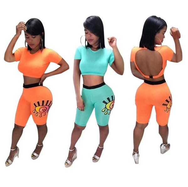 Women Sexy Backless Designer Tracksuit Eyes Painting Crop Tops T shirts + Shorts Tights Girls Two Piece Outfit Solid Color Sportwear A52203