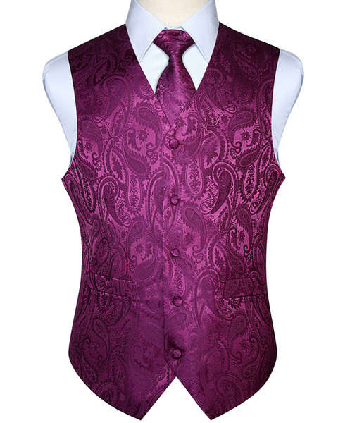Men Waistcoat Vest Party Wedding Handkerchief Necktie Classic Paisley Plaid Floral Jacquard Pocket Square Tie Suit Set Q190427