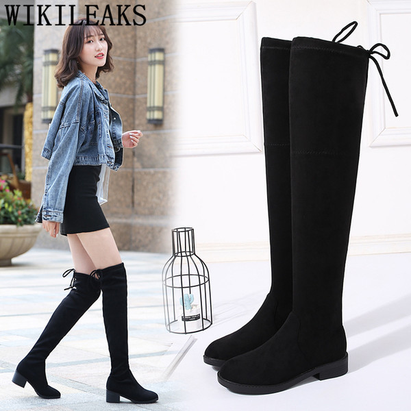 Bigtree Thigh High Boots Women High Heel PU Leather Casual Block Fall Winter Platform Over The Knee Boots
