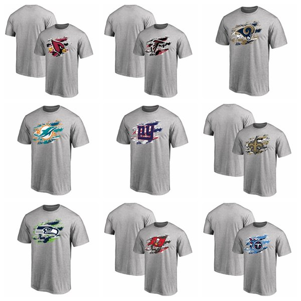 New 2019 Men Saints Giants Dolphins Rams Seahawks Buccaneers Titans True Color T-Shirt cotton tee shirt Hot Sale Free Shipping