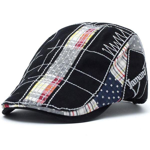 Cotton Flat Cap Ivy Gatsby Newsboy Hat Duckbill Golf Cabbie Driving Hunting Men Women Stitching Splice Snap Vintage Beret Cowboy Sun 12945