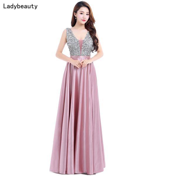 Ladybeauty New V-neck Beads Bodice Open Back A Line Long Evening Dress Party Elegant Vestido De Festa Fast Shipping Prom Gown Q190524