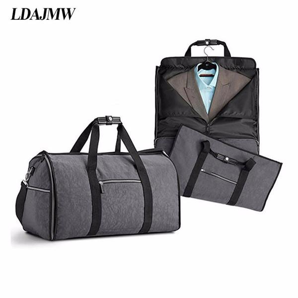 Grande capacidade de dobrar à prova d 'água terno bolsa de viagem multi-função bolsa de viagem saco de armazenamento de viagem dos homens camisa terno organizador