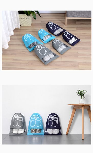 Nonwoven Environment Drawstring Shoes Package Bags Transparent Boots Dust-proof Storage Bags Multifunction Fabrics Organizer Travel Package