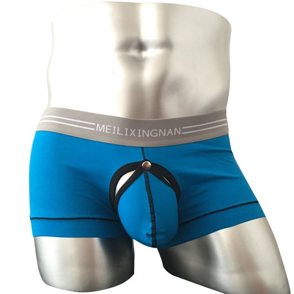 Sexy Male Underwear Men Boxer Shorts Cotton Open Front Sexy Mens Boxers Penis Sheath Male Boxershorts Gay Sleepwear Panties