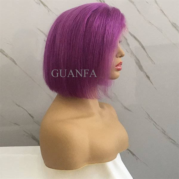 Full Lace Human Hair Short Bob Wig With Baby Hair Pure Purple Color Bleached Knots Natural Hairline Human Hair Bob Wig