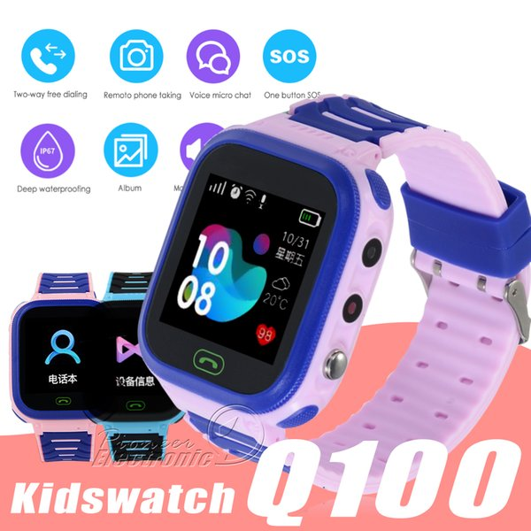 Q100 GPS Smart Watches Baby Kid Watch with WIFI 1.54inch Touch Screen SOS Call Location Device Tracker Kid Safe PK qQ528 Q50 Q11
