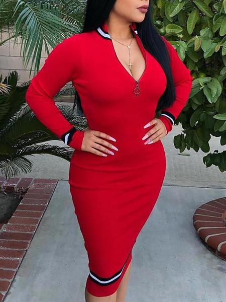 Женское облегающее платье в полоску Офисное рабочее платье на молнии средней длины Платья